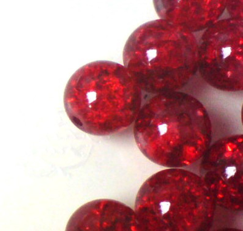 100 pieces 6mm Crackle Glass Beads - Dark Red - A1619 k2-accessories