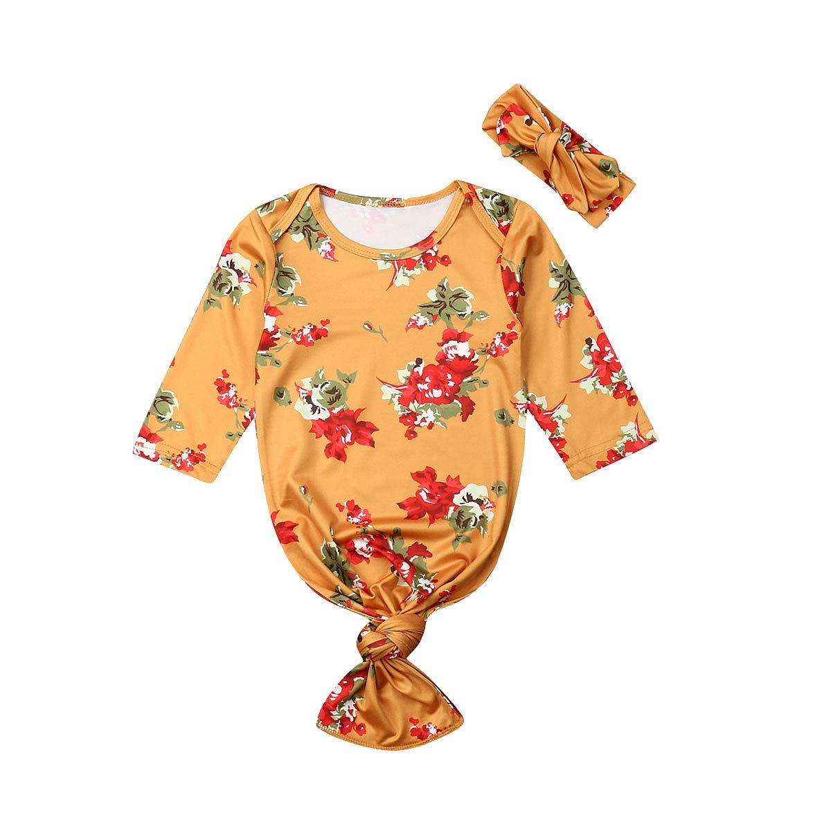 Newborn Baby Girl Sleepwear Nightgown Floral Sleeping Gown Headband Sleeping Bags Coming Home Outfits 0-6Months
