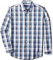 Amazon Essentials Men's Regular-Fit Long-Sleeve Plaid Shirt, Blue/White Plaid, Small