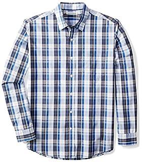 Amazon Essentials Men's Regular-Fit Long-Sleeve Casual Poplin Shirt, Blue/White Plaid, Large (B06XWLVGRT) | Amazon Products