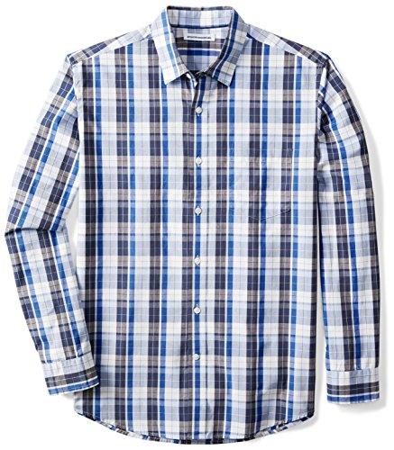 Amazon Essentials Men's Regular-Fit Long-Sleeve Plaid Shirt, Blue/White Plaid, Large by Amazon Essentials