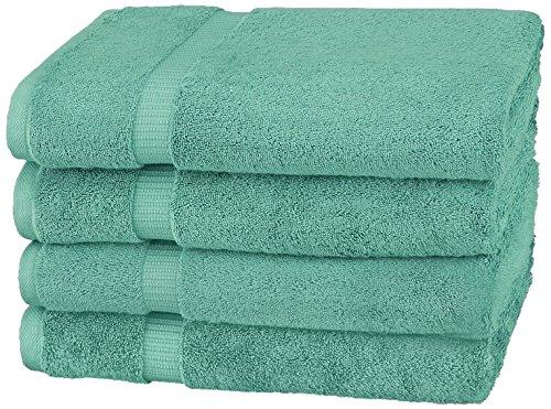Pinzon by Amazon Collection Pinzon Organic Cotton Bath Towel (4-Pack), Mineral Green