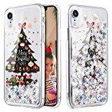 Caka iPhone XR Case, iPhone XR Glitter Case Liquid Series Sparkle Fashion Bling Luxury Flowing Liquid Floating Cute Glitter Soft TPU Clear Christmas Case for iPhone XR (Tree)