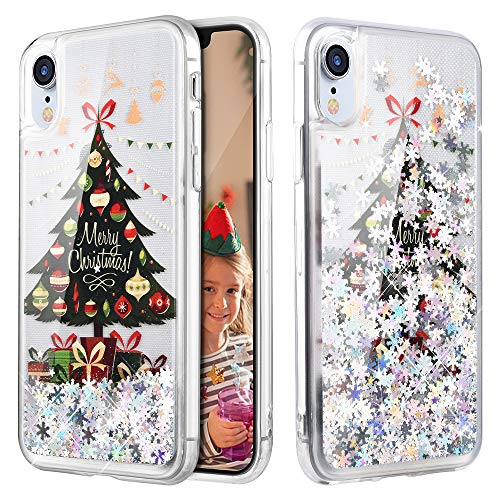 - Caka iPhone XR Case, iPhone XR Glitter Case Liquid Series Sparkle Fashion Bling Luxury Flowing Liquid Floating Cute Glitter Soft TPU Clear Christmas Case for iPhone XR - (Tree)