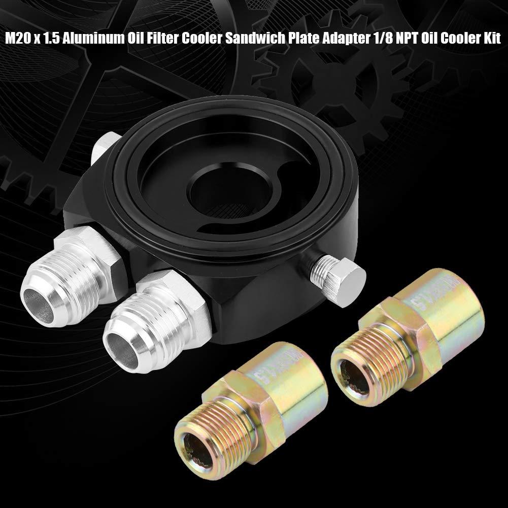 KIMISS Aluminium M20 x 1.5 Kit de Refroidisseur Dhuile Filtre /à Huile refroidisseur Adaptateur pour Plaque Sandwich 1//8 NPT Noir