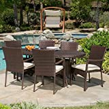 Great Deal Furniture Lancaster Outdoor 7-Piece Wicker Dining Set with Cushions For Sale