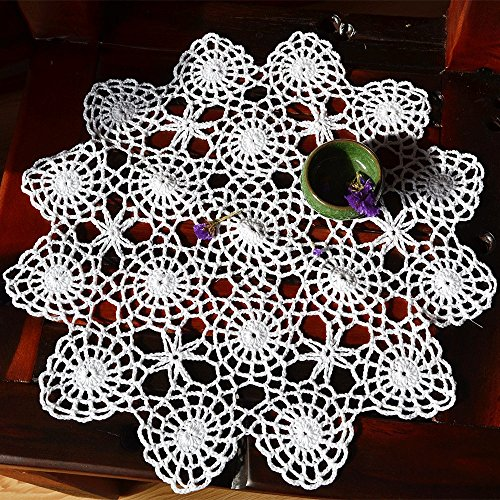 (Merryfeel Handmade Crochet Lace Placemats,100% Cotton Crochet White - Set of 4 - Round 15 Inch)