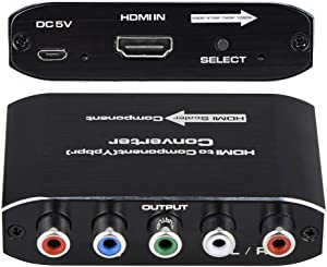 HDMI to Component Converter with Scaler Function, HDMI to YPbPr 5RCA RGB Scaler Adapter V1.4 with R/L Audio Output Support for MacBook TV Blu-Ray DVD PS4 DVD, PSP, Xbox 360,Amazon Fire TV