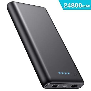 iPosible Batería Externa, Power Bank [24800mAh] Ultra Alta Capacidad Cargador Portátil Móvil con 2 Puertos Salidas USB Alta Velocidad y 4 LED para ...