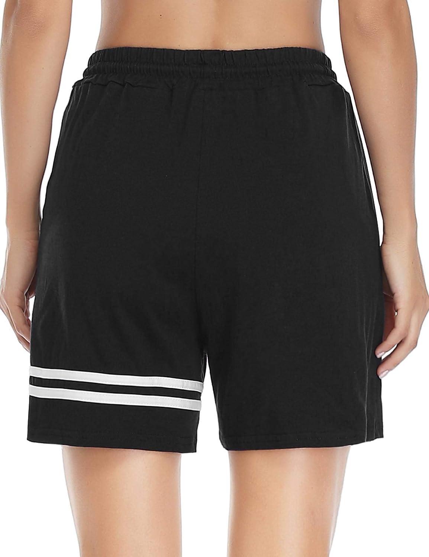 Doaraha Damen Shorts Sportshorts Freizeitshorts Sweatshorts Elegant Bermudashorts Kurzen Hose mit Tapestreifen f/ür Sport und Freizeit