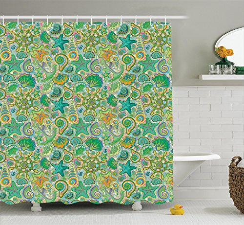Ambesonne Nautical Decor Collection, Cute Undersea Animals Maritime Colorful Floral Pattern and Aquatic Starfish Seashell Image, Polyester Fabric Bathroom Shower Curtain Set with Hooks, Green Purple (Shower Undersea Curtain)