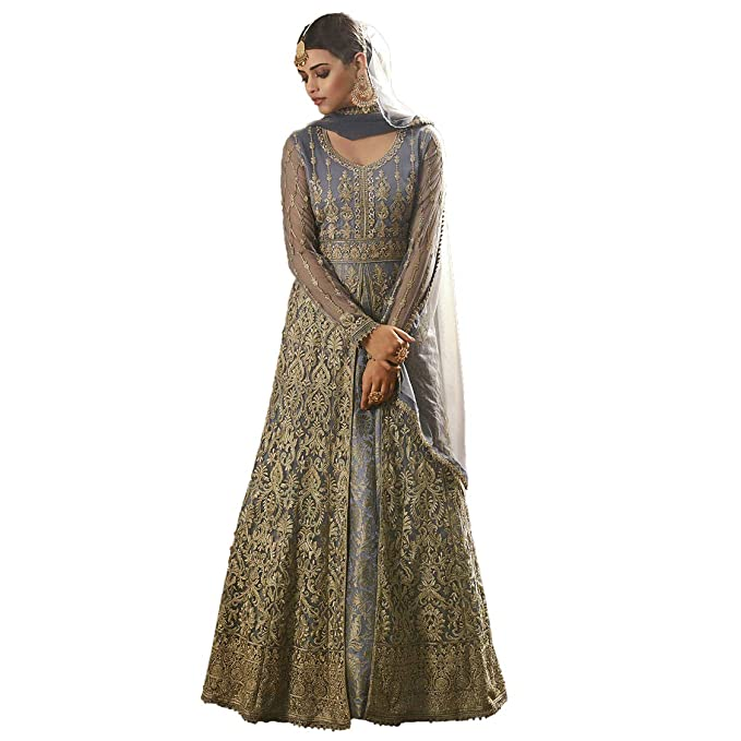 5a5ddda440 S M Creation S M Creations Women's Latest Heavy Embroidered Abaya Style  Anarkali Salwar Suit
