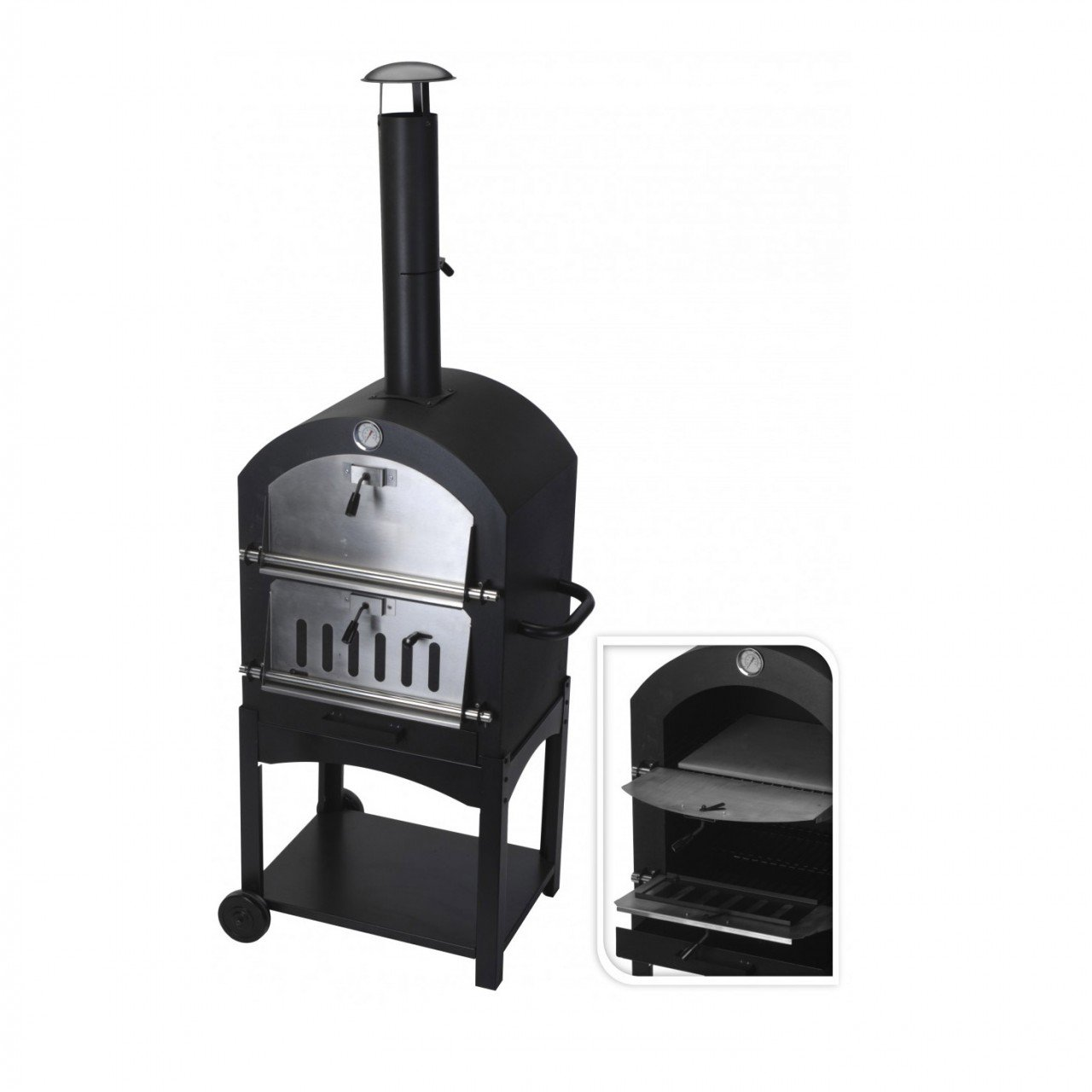New Large Charcoal Barbecue Steel Outdoor Garden Pizza Cooker Oven BBQ And Smoker Koopman E12300070