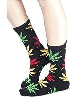 Unisexe Coton Crew chaussettes Marijuana Cannabis Weed Rasta