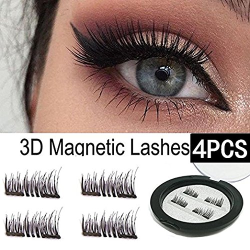 Price comparison product image HOBO Dual Magnetic Eyelashes - Ultra Thin Magnetic False 3D Eyelash (4 - piece), Best Reusable and Easy to Apply Ultra Thin Dual Magnet System