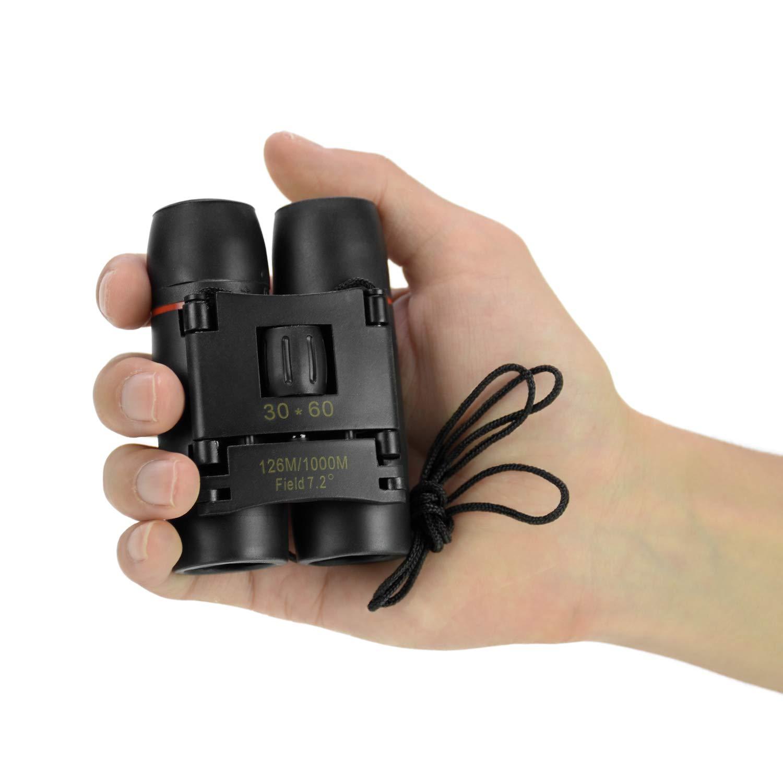 30x60 Binoculars Telescope for Adults Compact, Mini Pocket Binoculars for Kids Children Football Games Opera Theater Safari Sightseeing Wildlife Hiking Travelling-BAK4 Prism FMC Lens-w