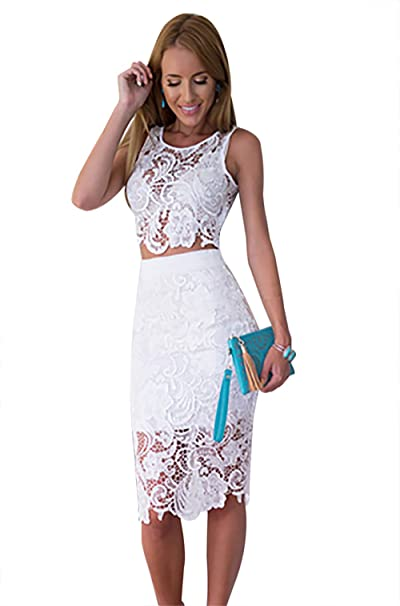 55029f6ceb2ed Moxeay Womens 2 Piece Lace Crop Top and Skirt Set Outfits Bodycon Midi Dress