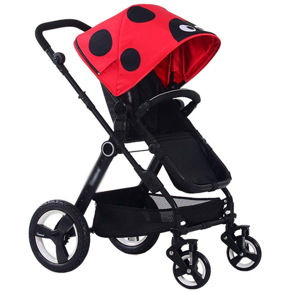 HAIZHEN マウンテンバイク ベビーチャイルドプッシュチェア/ベビーカー2in1キャリー付きベビーベッド 新生児 B07C6RK93D 赤 赤