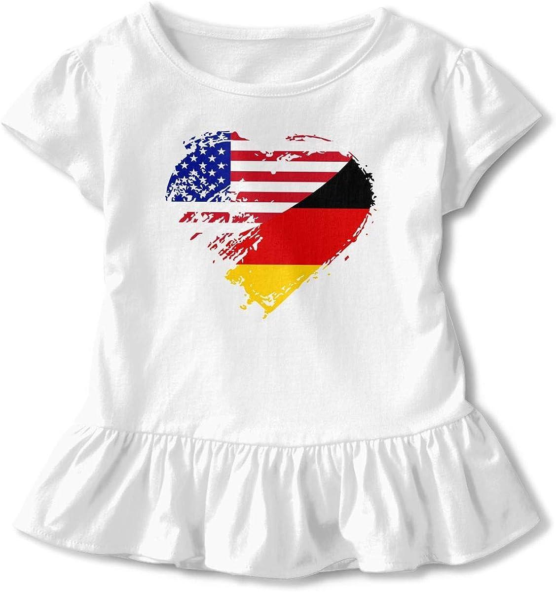 German American Heart Flag Toddler Baby Girl Short Sleeve Peplum Tee Tops