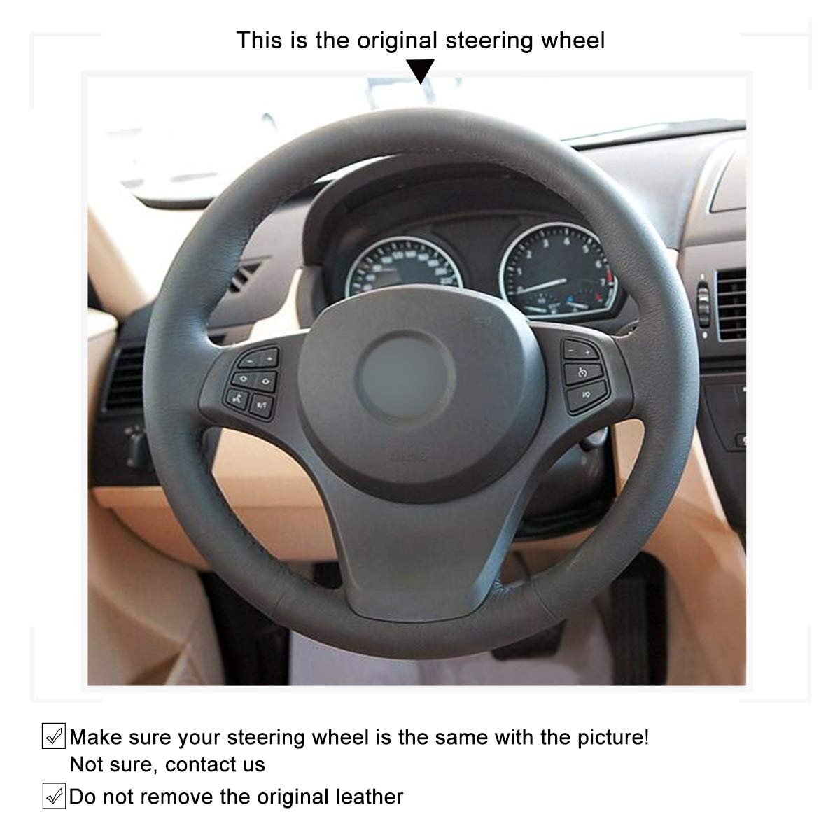 Amazon.com: MEWANT Tailor Made Black Sports Leather Steering Wheel Steering Wheel Wrap Tight Fit for BMW X3 E83 2007 2008 2009 2010 / X5 E53 2000 2001 2002 ...