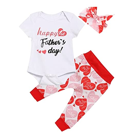 38a0cf5fd BELS Happy First Father's Day Baby Girls Outfit Set Clothes 3PCS Romper  Jumpsuit + Love Printed