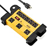 EZOPower 8 Outlet Industrial Safety Heavy-Duty Metal Housing Surge Protector Power Strip With Cord Management - 15ft