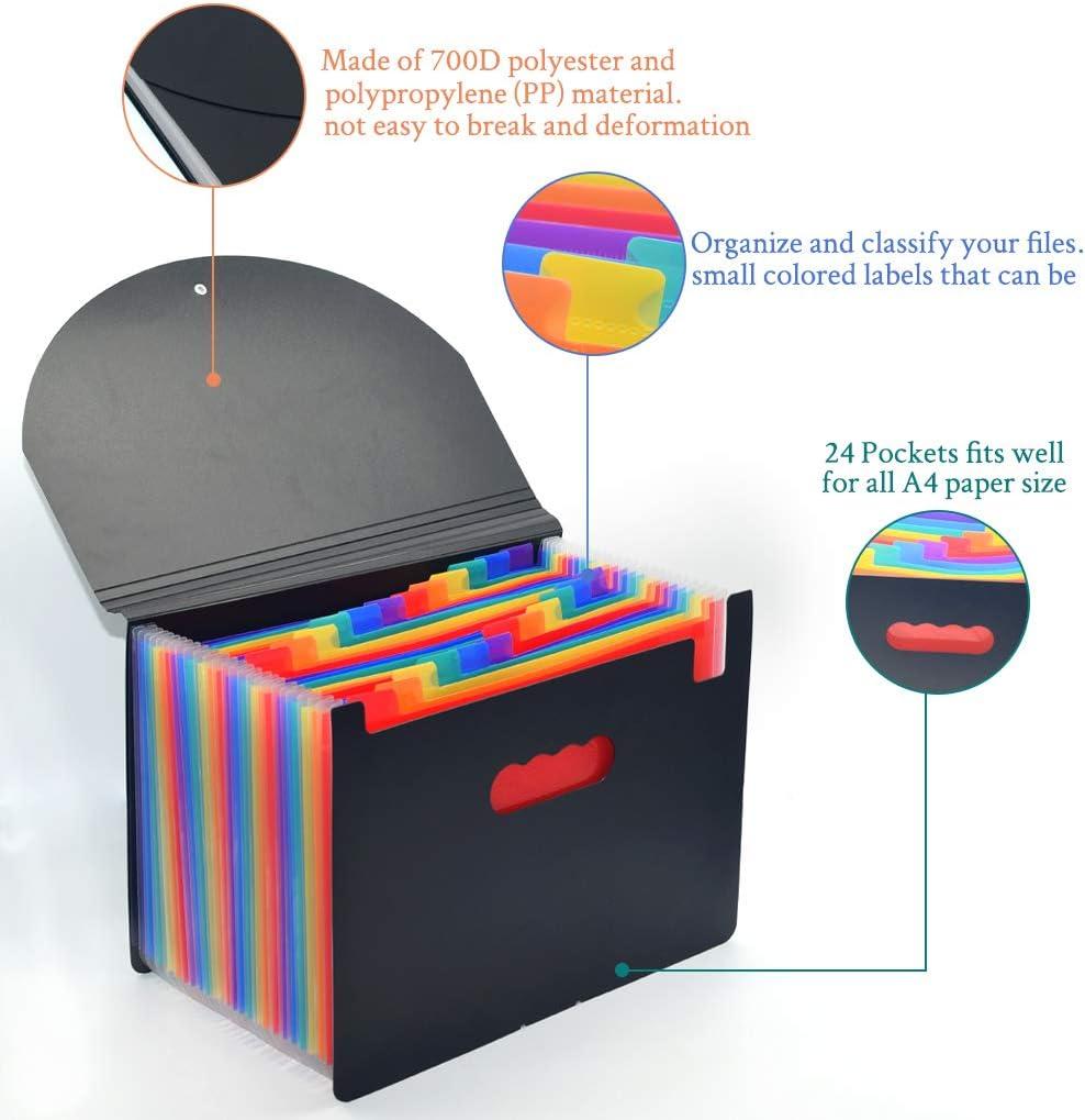 Regenbogen-Dokument-Organisator GothicBride 12-Pocket erweiternDateiordner Datei-Organisator Box-Dateien A4 Akkordeon Aktentasche Business Filing Box mit Deckel