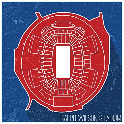 (ArtsyCanvas Ralph Wilson Stadium - Football Seating Map - 18x18 Matte Poster Print Wall Art)