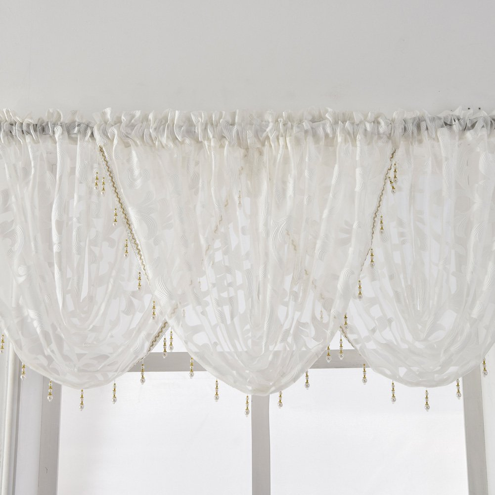 1 Valance 57 Wx37 L, Beige NAPEARL European Style Jacquard Sheer Curtain Organza Fabric Beaded Valance Window Treatment Decoration