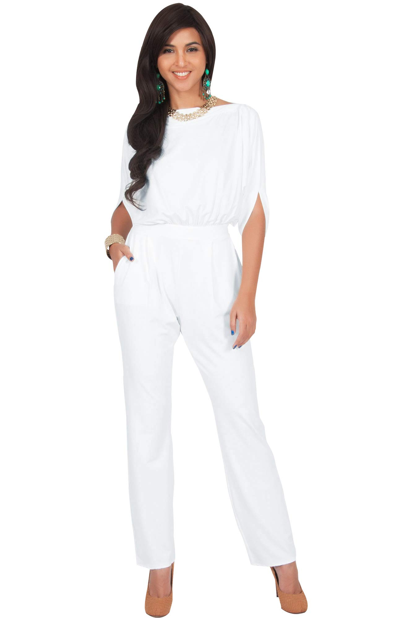 KOH KOH Petite Womens Short Sleeve Sexy Formal Cocktail Casual Cute Long Pants One Piece Fall Pockets Dressy Jumpsuit Romper Long Leg Pant Suit Suits Outfit Playsuit, White S 4-6
