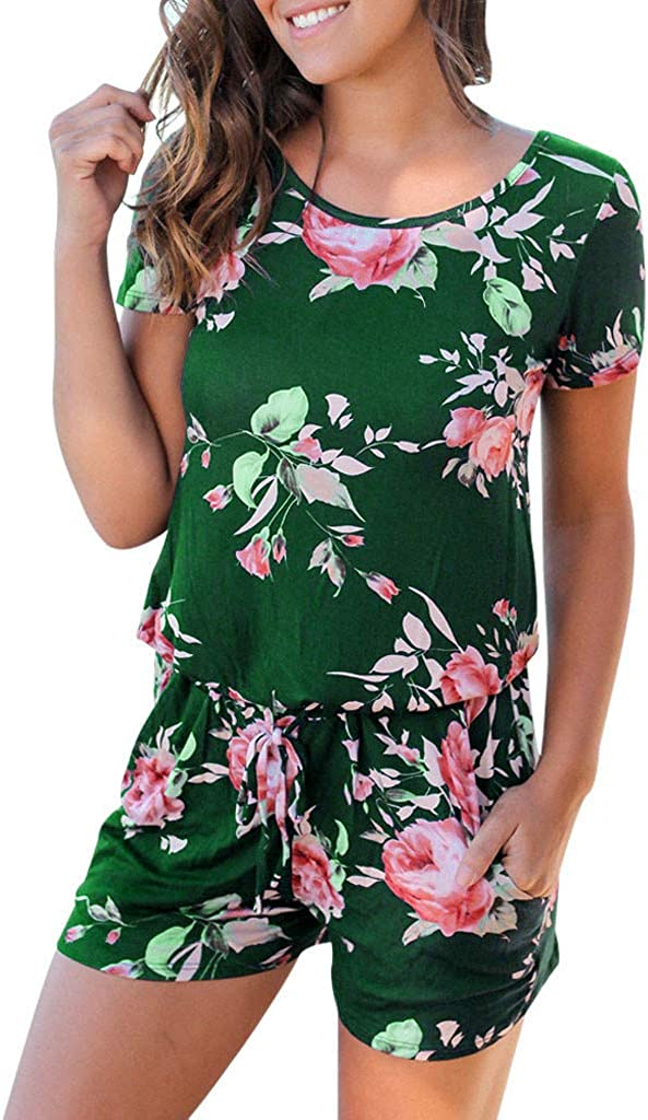 Kolylong Women Floral Print Short Sleeve Jumpsuit Summer Playsuit Beach Rompers