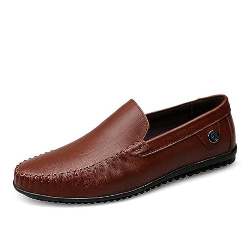 Mocasines de tacón Plano de Hombre Mocasines de tacón de Vaca de Cuero con mocasín: Amazon.es: Zapatos y complementos