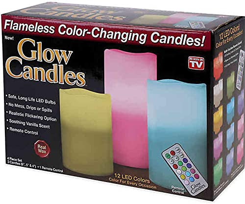 Glow Candles Flameless Color Changing Pillars Set of 3 As Seen On TV Made from Real Wax