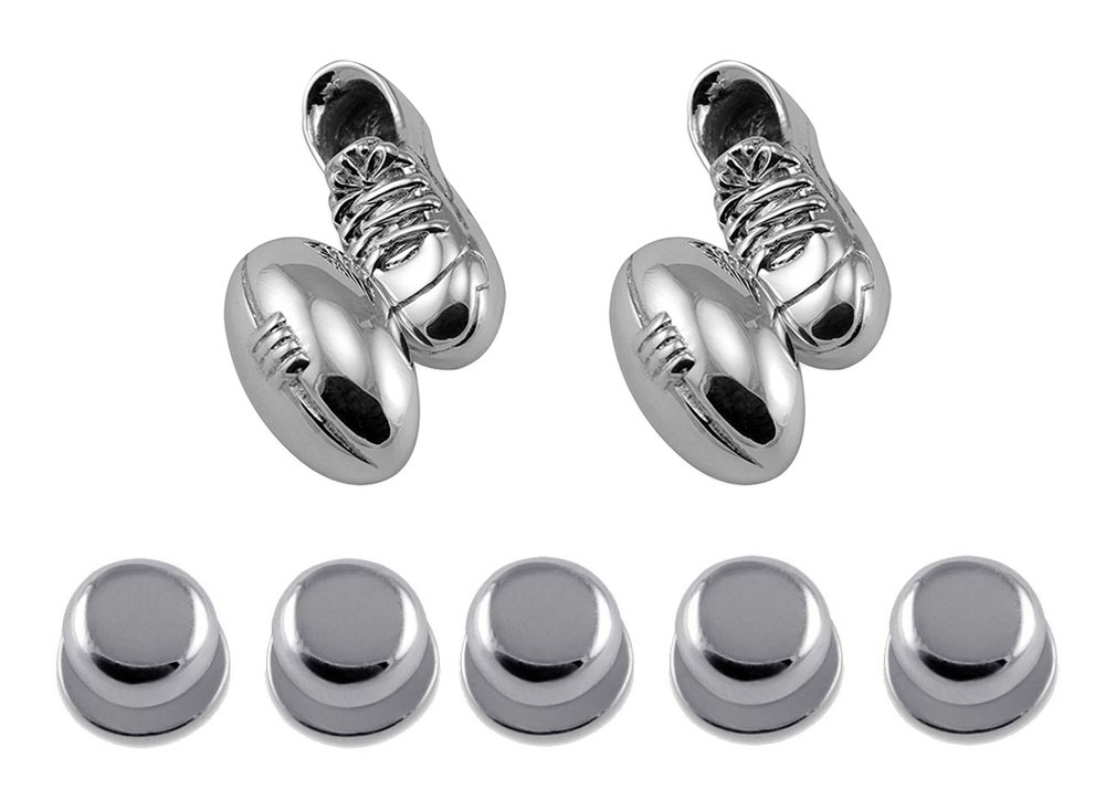 Sterling Silver Rugby Ball & Boot Cufflinks with Chain Link Shirt Dress Studs Gift Set