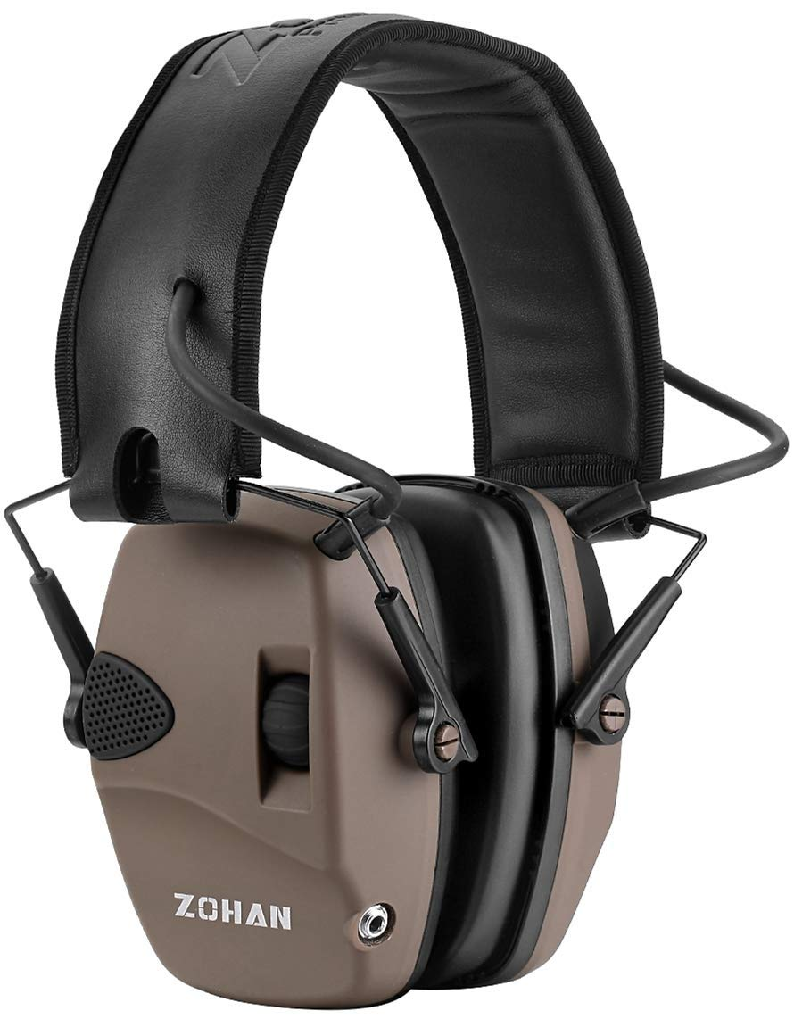 ZOHAN EM054 Ultra Slim Electronic Ear Muffs with Sound Amplification & Noise Reduction - NRR 22dB - Flat Dark Earth by ZOHAN