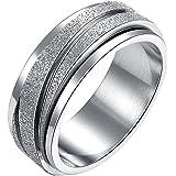 JAJAFOOK Unisex 8MM Stainless Steel Spinner/Rotatable Gear Silver Scrub Rings,Vintage Modern Jewelry