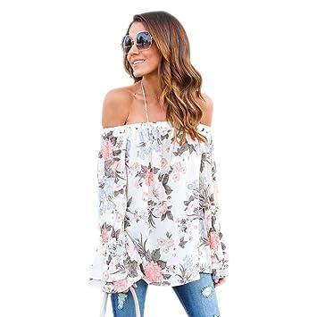 Tops para mujeres, blusa con estampado floral manga larga sin hombros