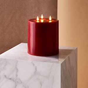 3 Wick Red Flameless Candle - 6x6 Extra Large Pillar Candle, Realistic 3D Flickering Flames with Wicks, Battery Operated, Burgundy Real Wax, Valentine's Day Decor, Remote Control with Timer Included