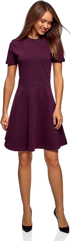 oodji Ultra Damen Tailliertes Kleid mit Reißverschluss