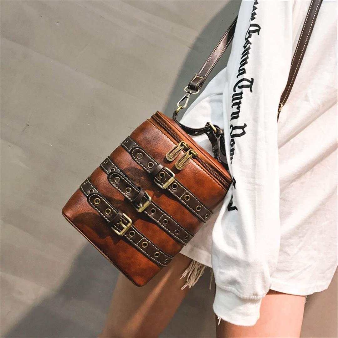 Vintage Mini Bucket Shape Women Backpack Schoolbag PU Leather Buckle Shoulder Bag Multifunction Backpacks Female Brown Brown