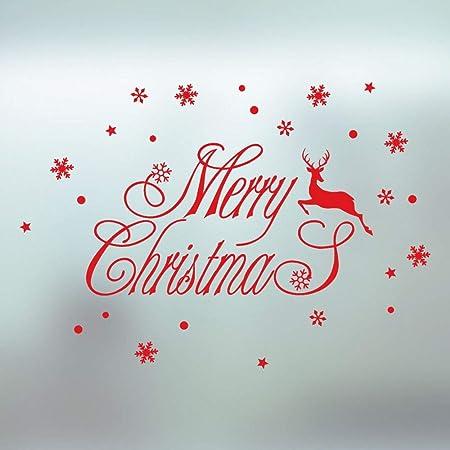 zhuziji Merry Christmas elk Snowflake Wall Sticker Festival ...