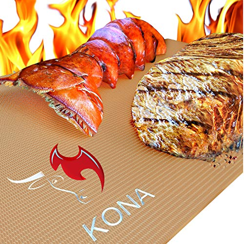 Kona Best Copper Grill Mats - Non Stick BBQ Grilling Mats for Gas Grills, Electric, Charcoal, Smokers (Set of 2) (Best 3 Burner Gas Grill Reviews)