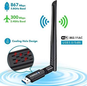 FIDECO USB WiFi, Adaptador WiFi USB 1200Mbps: Amazon.es: Electrónica