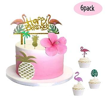 JeVenis Glitter Flamingo Cake Toppers Happy Birthday Decoration Tropical Hawaiian Luau Themed Party Supplies
