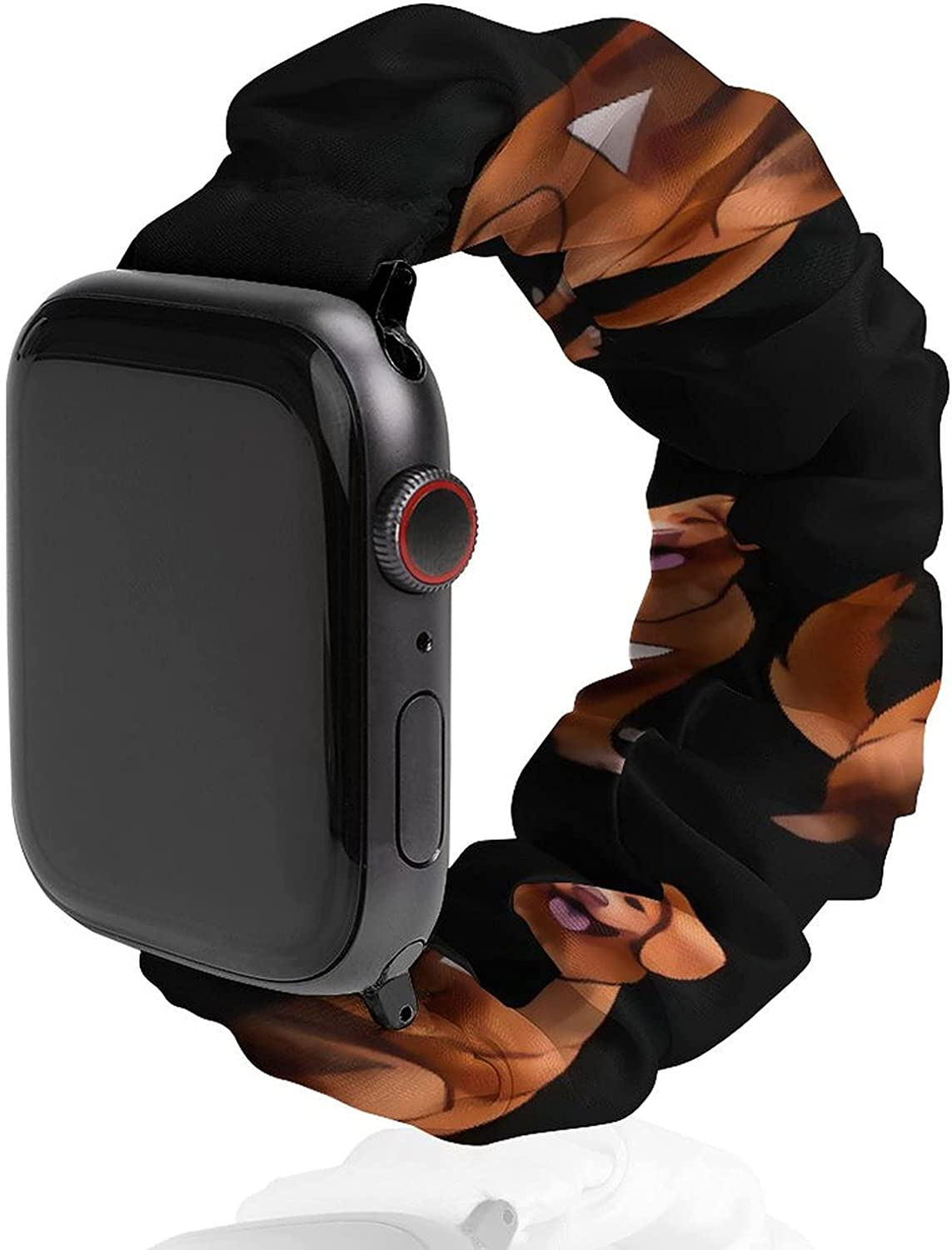Cute Art Golden Retriever Dog Pattern Compatible with Apple Watch Band Scrunchies 38mm 40mm 42mm 44mm Cloth Soft Pattern Printed Fabric Bracelet Women Rose Gold IWatch Cute Elastic Scrunchy Bands for