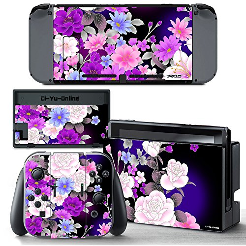 Ci-Yu-Online VINYL SKIN [NS] Flower Rose Purple STICKER DECAL COVER for Nintendo Switch Console and Joy-Con Controllers