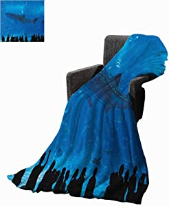 """Flyerer Shark Cooling Blanket Japanese Aquarium Park with People Silhouettes Watching Underwater Life Hobby Image Blue Black Lightweight Blanket 50""""x70"""" inch"""