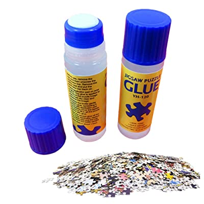 WAQIA HOUSE 3 Pack Clear Liquid Glue, Jigsaw Puzzle Glue with Soft Brush Head, Liquid Office School Glue, Washable, Great for Adhering Paper, Puzzles: Toys & Games