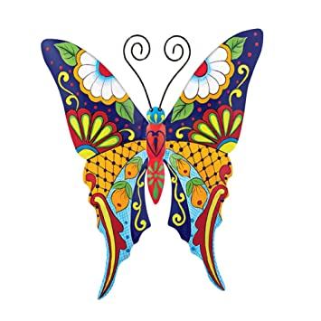 Collections Etc Colorful Metal Mexican Talavera Style Insect Garden Wall Art For Indoor And Outdoor Decoration Butterfly