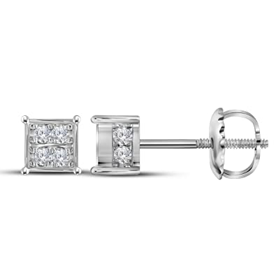 7822c429e Image Unavailable. Image not available for. Color: Diamond Square Cluster  Stud Earrings 10k White Gold Cube Studs Round Stone Pave Set Screwback 1